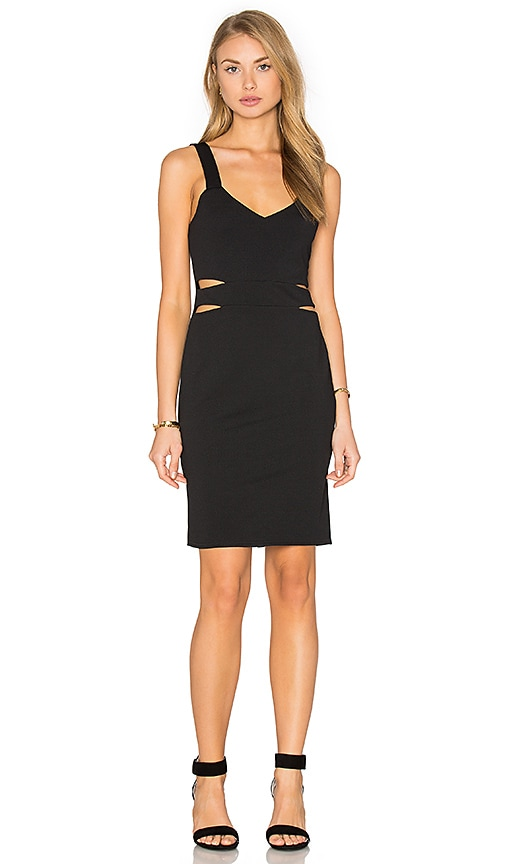 Twin Sister Waist Cut Out Dress in Black