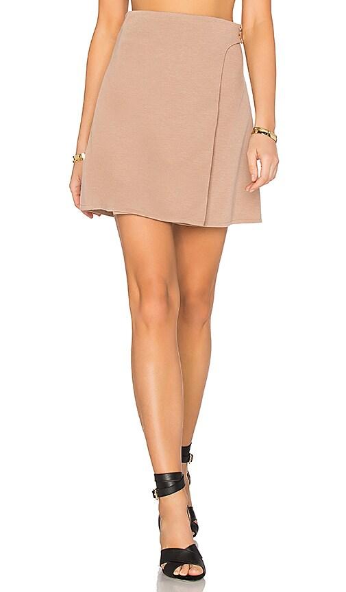 Twin Sister Button Wrap Mini Skirt in Brown