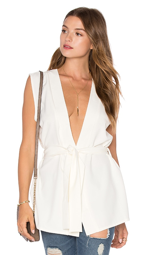 Twin Sister Tie Wrap Top in White