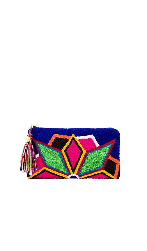 the way u Neon Lights Blue Clutch in Multi