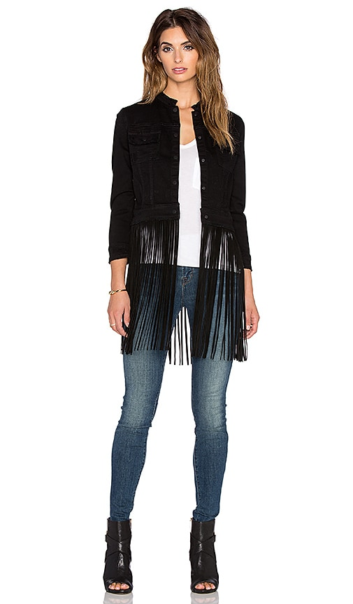 ThePerfext Molly Fringe Leather Jacket in Black
