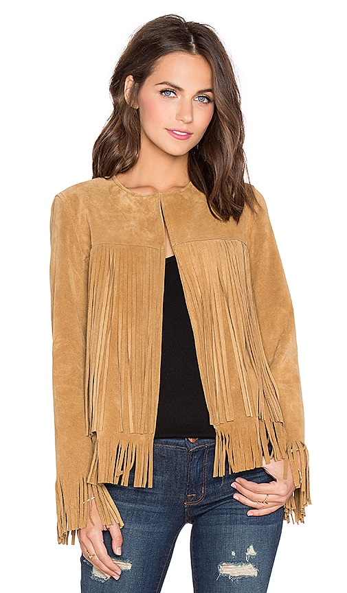 ThePerfext April Fringe Suede Jacket in Cognac Suede