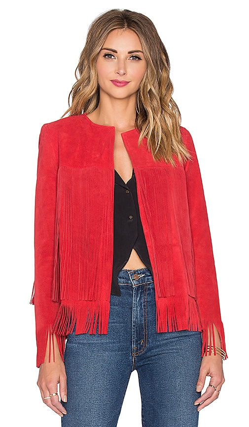 ThePerfext Ryder Classic Fringe Jacket in Red Suede
