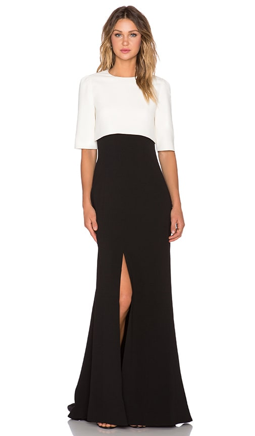 TY-LR Formation Long Dress in Black & Cream
