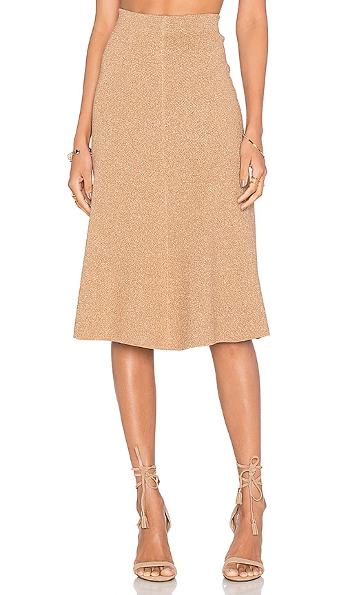 TY-LR The Magnitude Knit Skirt in Gold
