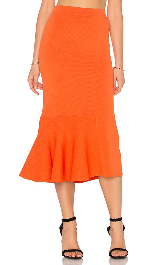 TY-LR The Diversion Knit Skirt in Tangerine