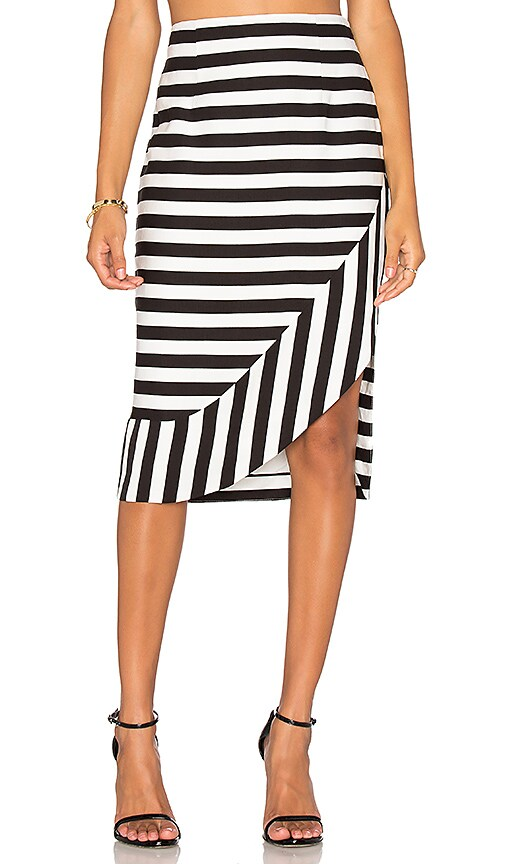 TY-LR The Borsa Stripe Skirt in Black & White