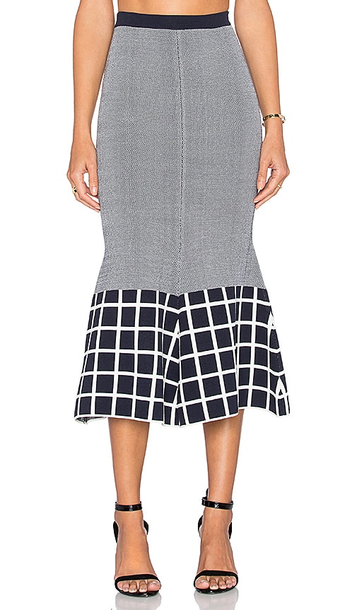 TY-LR The Vantage Knit Skirt White & Indigo in White & Indigo