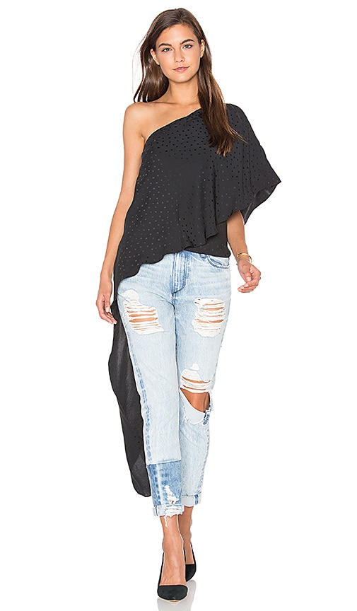 TY-LR The Solea One Shoulder Top in Black