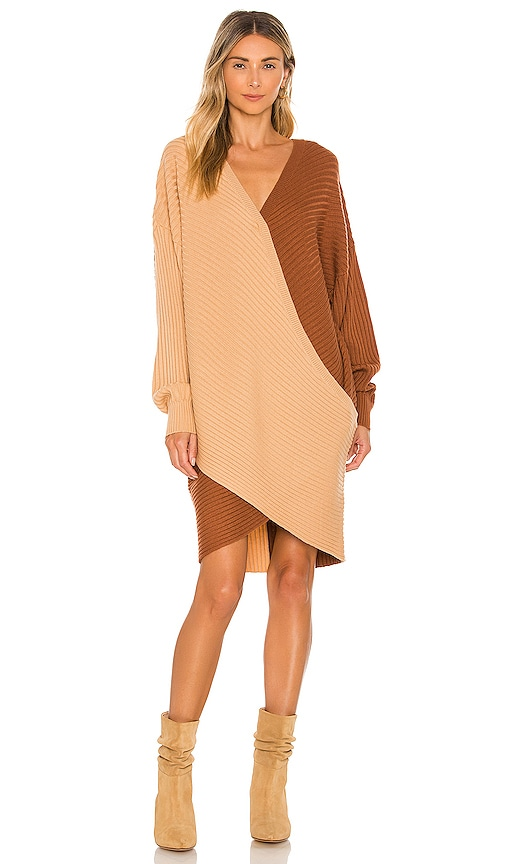 AMUR Two Toned Overlap Sweater Dress in Camel & Brown   REVOLVE