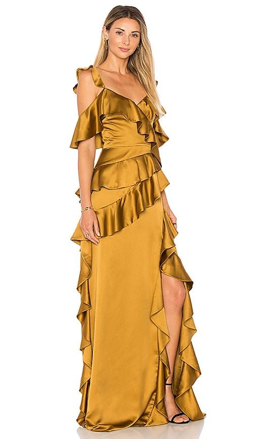 AMUR Pearl Gown in Tan