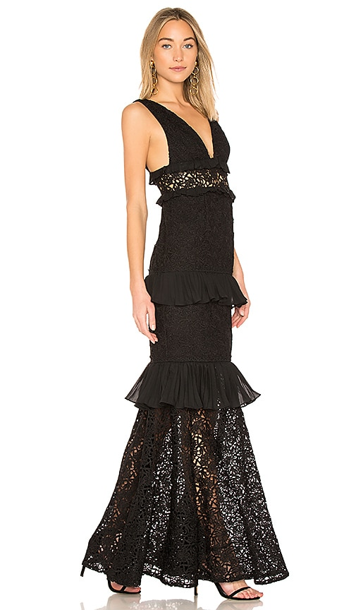 7902fc8ba0e AMUR Ellie Ruffle Gown in Black