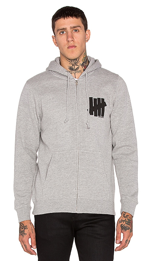 Undefeated Strike Undefeated Zip Hoodie in Grey Heather