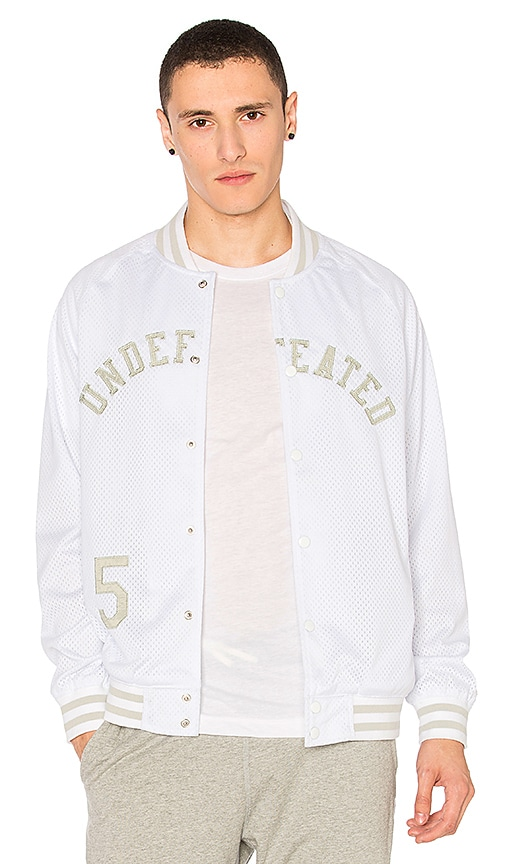 Undefeated Mesh Varsity Jacket in White