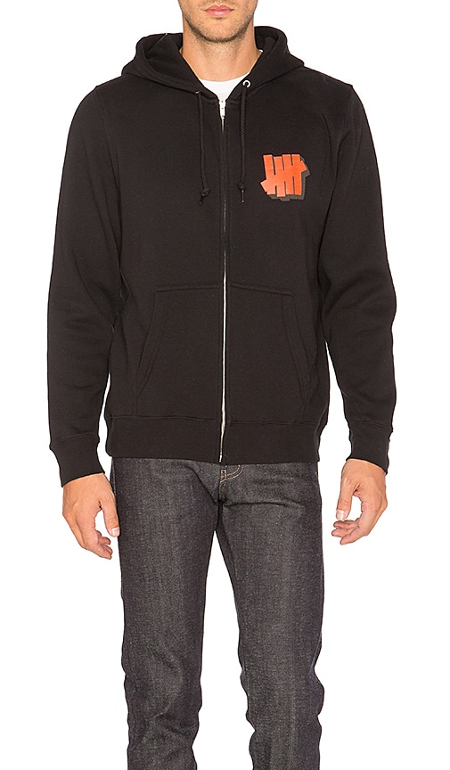 Undefeated Shadowed Strike Zip Hoody in Black
