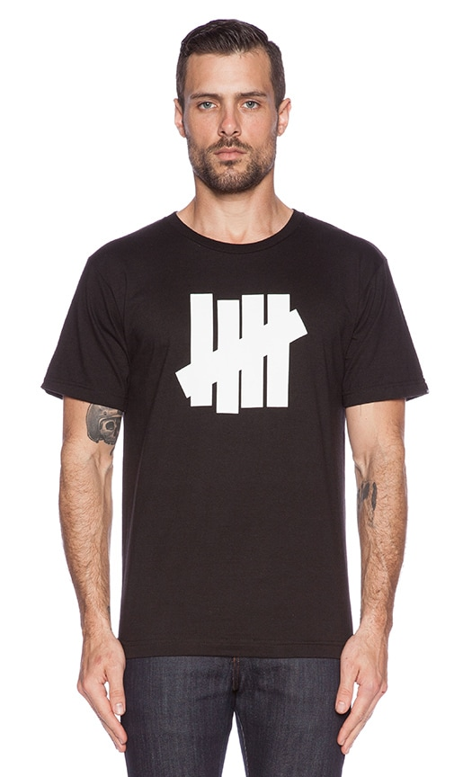 Undefeated 5 Strike Tee in Black White