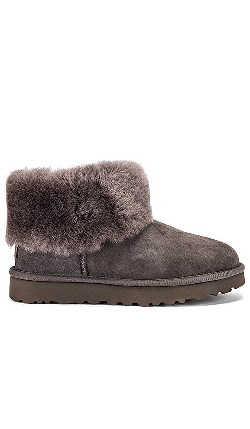 Classic Mini Fluff Boot In Charcoal by Ugg