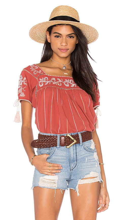 Ulla Johnson Lila Blouse in Red