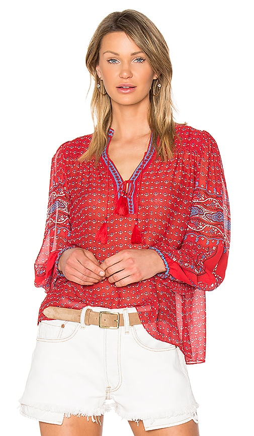 Ulla Johnson Amala Blouse in Red