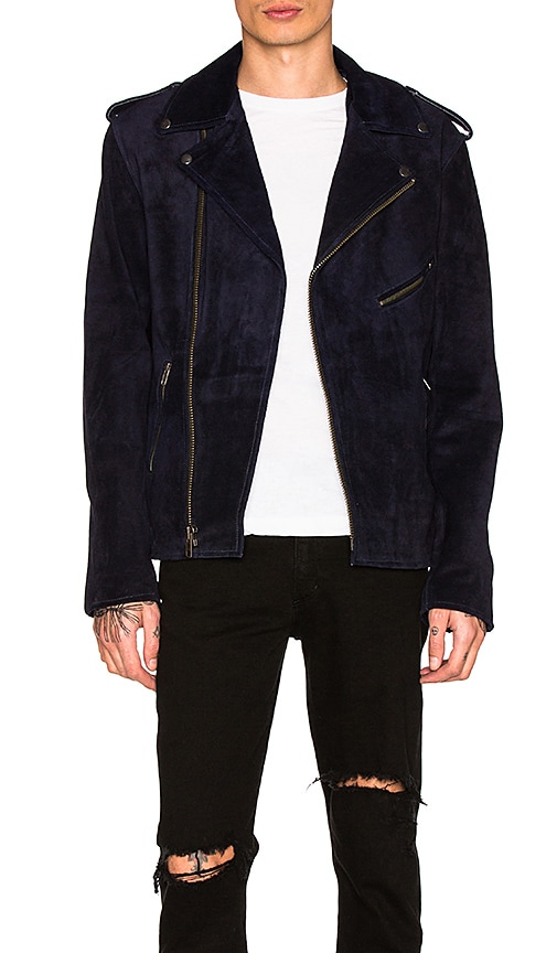 Understated Leather Easy Rider Suede Jacket in Navy