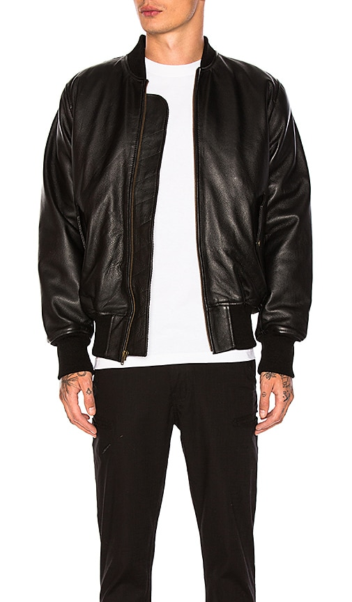 Understated Leather Leather Bomber in Black