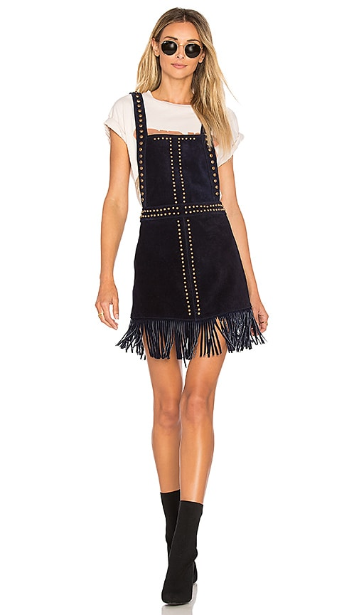 Understated Leather Hold Your Horses Pinafore Dress in Black