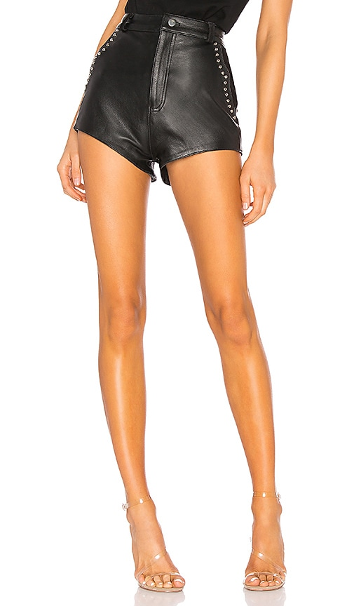 Understated Leather Studded Combo Shorts