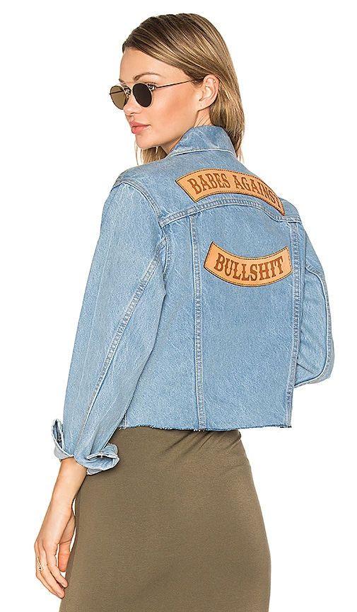 Understated Leather Babes Against Bullshit Chopped Denim Jacket in Stone Washed Denim