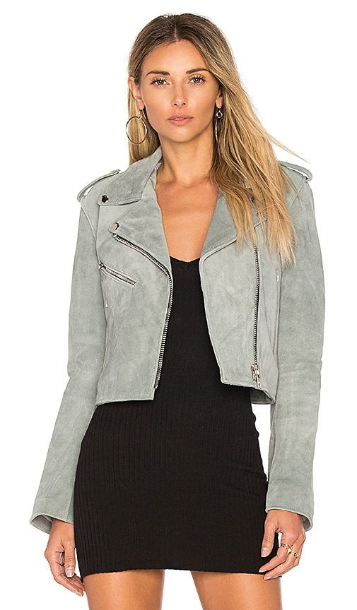 Understated Leather Cropped Bell Sleeve MC Jacket in Gray