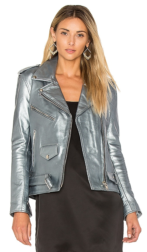 Understated Leather Easy Rider Jacket in Slate