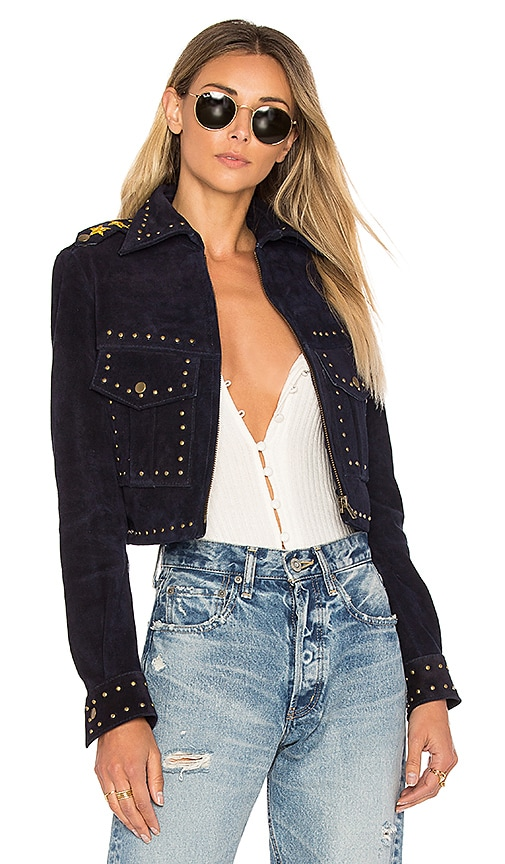 Understated Leather Private Benjamin Jacket in Blue