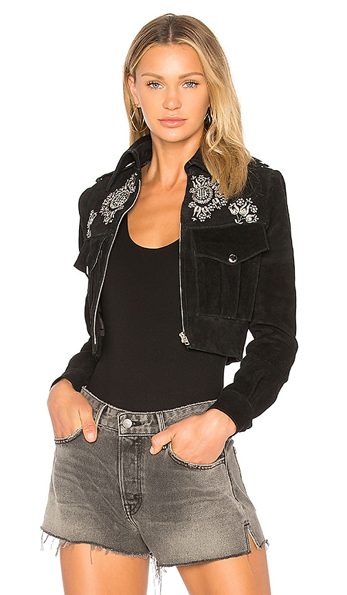 Understated Leather Embroidered Suede Jacket in Black