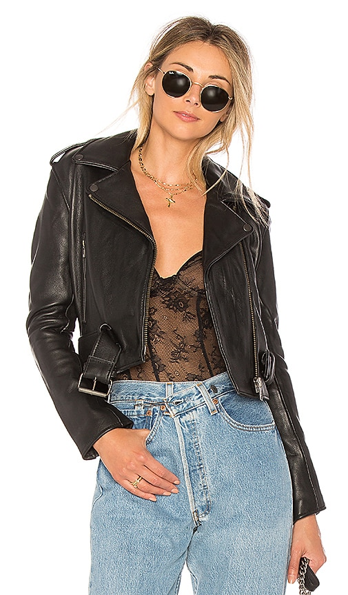 Understated Leather Shrunken Moto Jacket in Black
