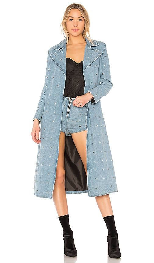Understated Leather Studded Denim Duster Jacket in Sky Blue
