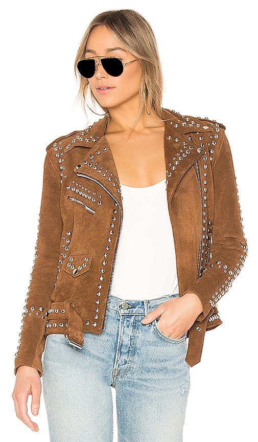 Understated Leather x REVOLVE Studded Easy Rider Jacket in Brown