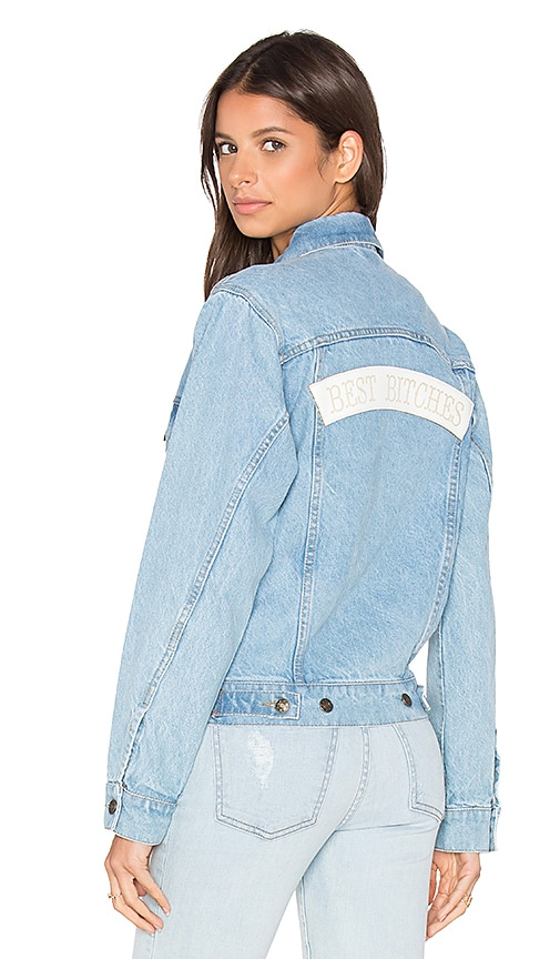 Understated Leather x REVOLVE Best Bitches Denim Jacket in Sky Blue