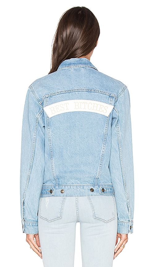 09d797bea0 Understated Leather x REVOLVE Best Bitches Denim Jacket in Sky Blue   White  Leather 80%