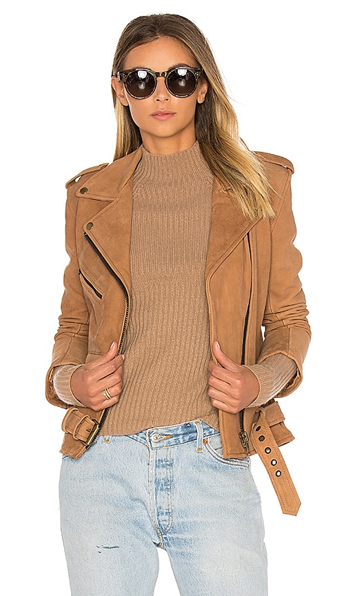 Understated Leather Easy Rider Jacket in Tan