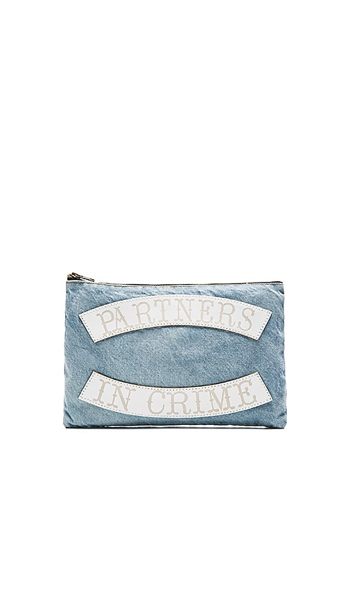 Understated Leather x REVOLVE Partners in Crime Clutch in Sky Blue & White