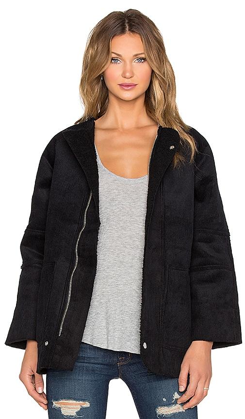 UNIF Ari Coat in Black & Baby Blue