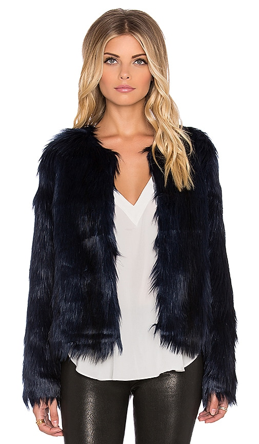 f3589687f59 Unreal Fur Unreal Dream Faux Fur Jacket in Midnight Blue
