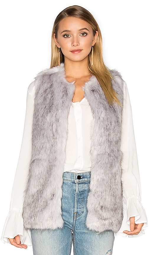 Unreal Fur Silver Lining Faux Fur Vest in Light Gray