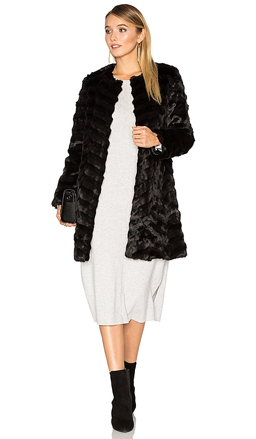 Unreal Fur Dream Catcher Faux Fur Coat in Black