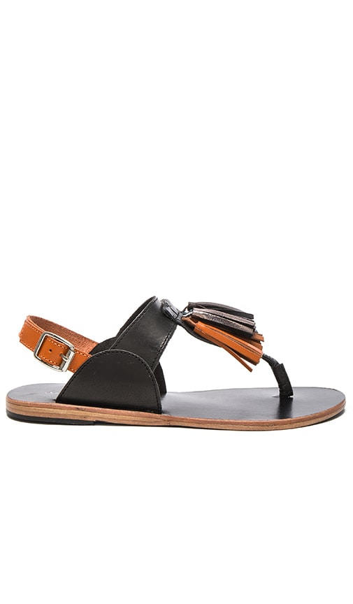 Urge Pebble Tassled Sandal in Black Multi