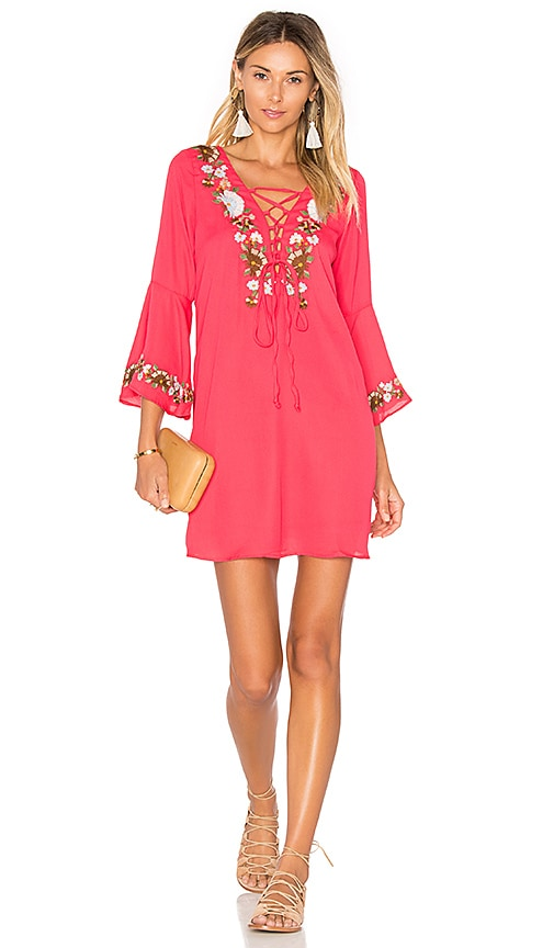VAVA by Joy Han Dina Bell Sleeve Dress in Red