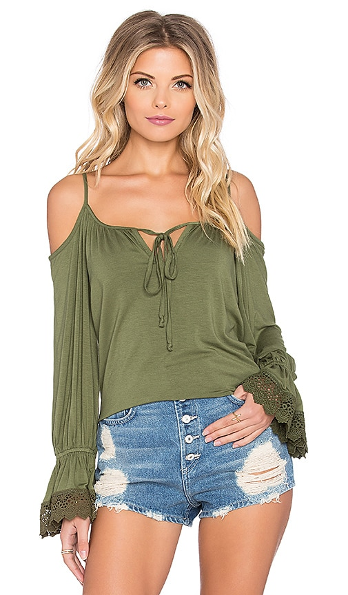 VAVA by Joy Han Silivia Open Shoulder Top in Olive Green