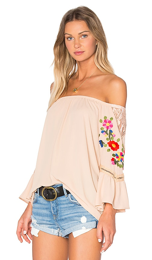 VAVA by Joy Han Kacie Off Shoulder Top in Tan
