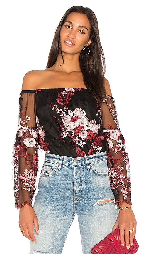 VAVA by Joy Han Magnolias Top in Black