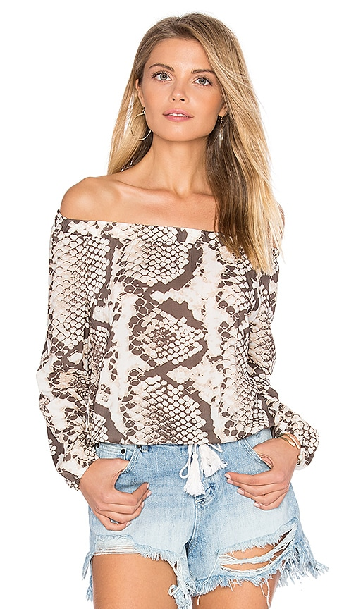 vitamin A Marabella Cropped Peasant Top in Beige