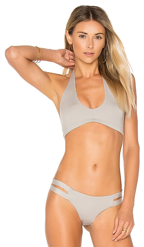 vitamin A Camilla Cross Neck Top in Gray